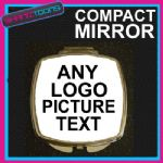 PERSONALISED TEXT LOGO PROMOTIONAL DESIGN COMPACT LADIES METAL HANDBAG MIRROR